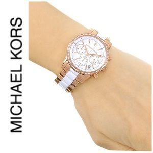 NWT authentic MK Rose gold tone White Dial Watch